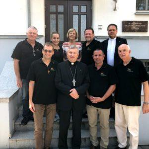 Treffen mit dem Bischof Rimantas Norvila in Marijampole im Rahmen des begleitenden Hilfstransport 2018.